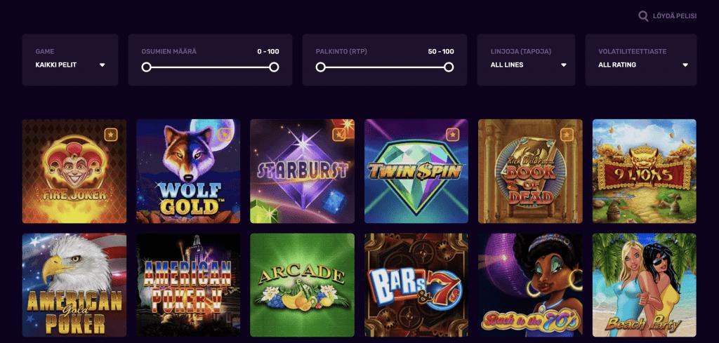 duxcasino tarjoaa hyvät filtteröinti-mahdollisuudet kasinoaulassaan