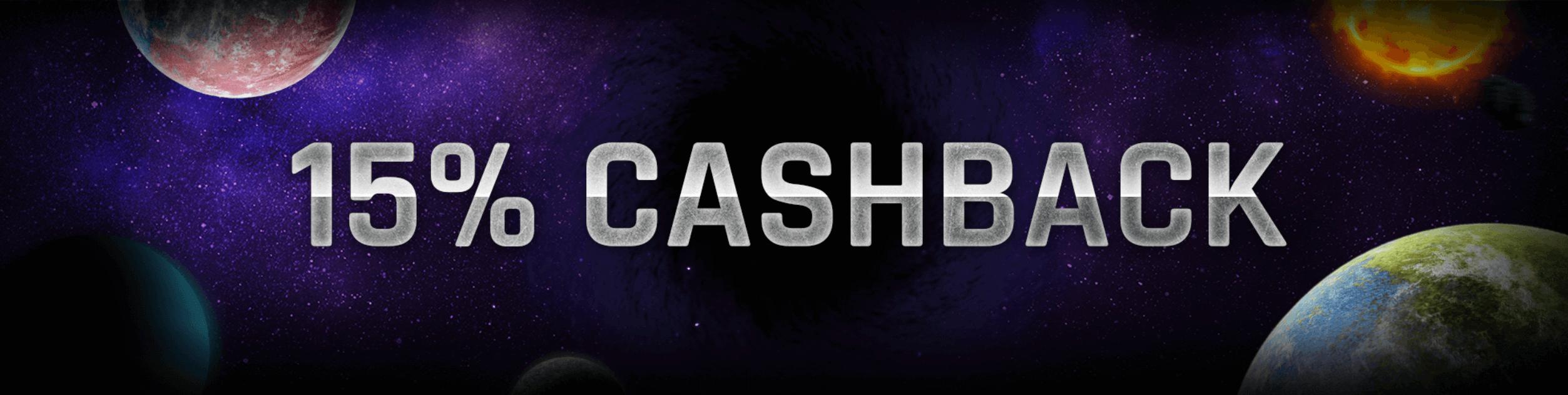 casinouniverse 15% cashback bonus joka viikko