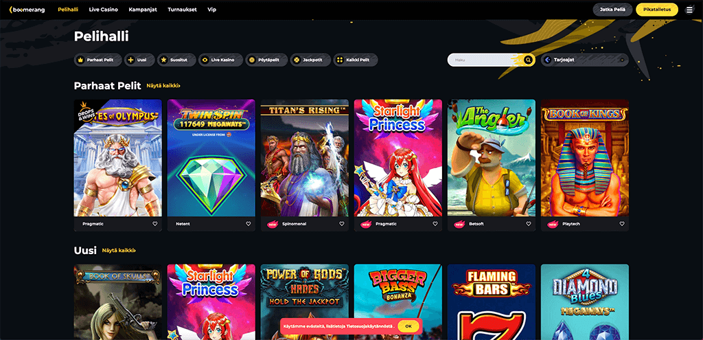 boomerang casino pelivalikoima ja jättipotti-pelit